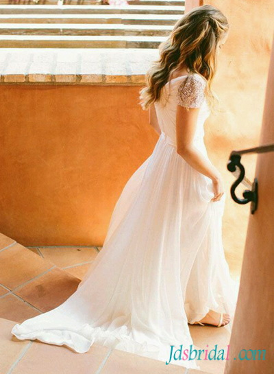 fairytale ethereal light white flowy chiffon beach wedding dresss with beading cap sleeves