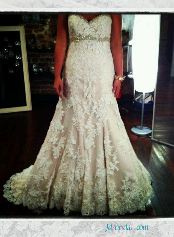 H1545 lace modified a line wedding dress with sweetheart neck