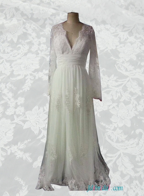 H1548 Rustic deep v long sleeves lace wedding dress