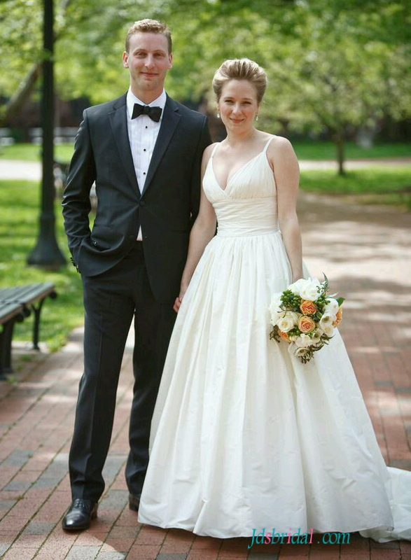 H1549 Classy simple plunging taffeta ball gown wedding dress
