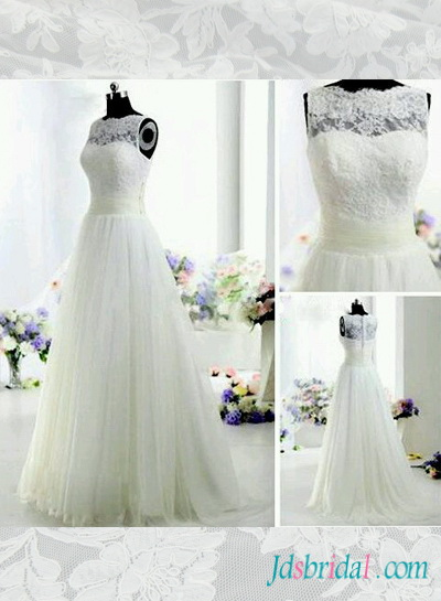 romantic lace overlay a line tulle wedding dress with illusion lace bateau neckline