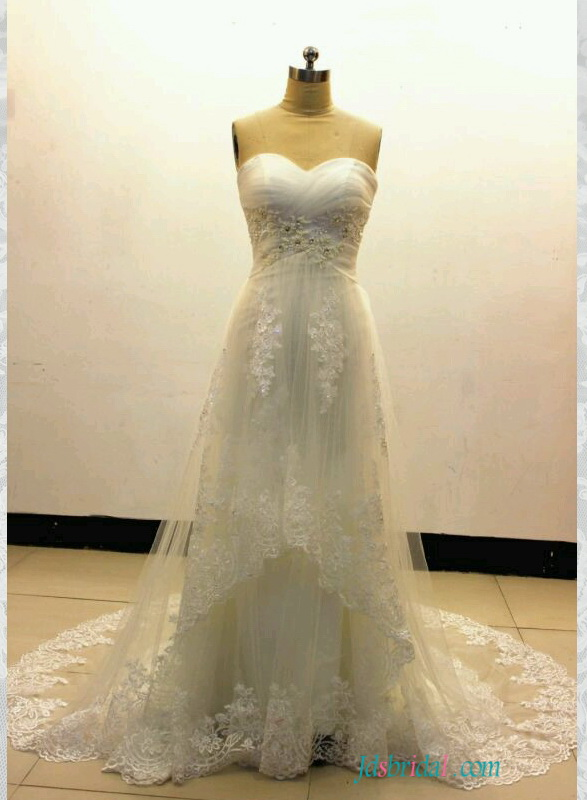 H1554 Romance soft tulle empire lace a line wedding dress