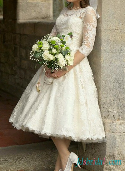 H1558 1950s Retro tea length ivory lace sleeved wedding dress