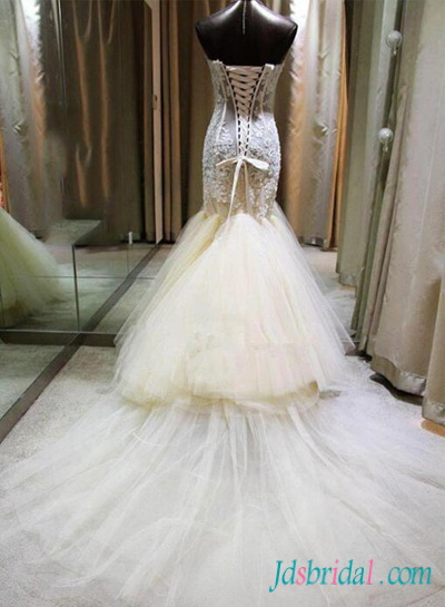 H1560 Sexy sweetheart see through lace mermaid wedding dress