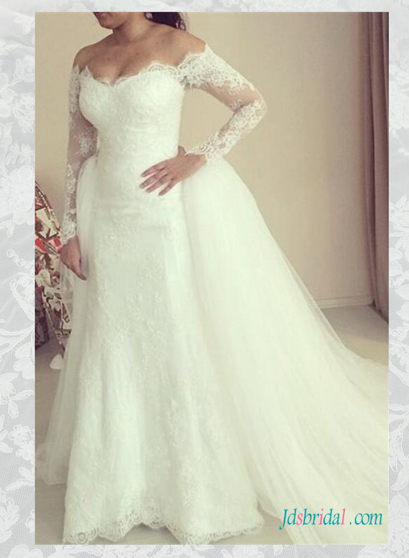 H1567 Glamour off shoulder long sleeved two pieces lace wedding dress