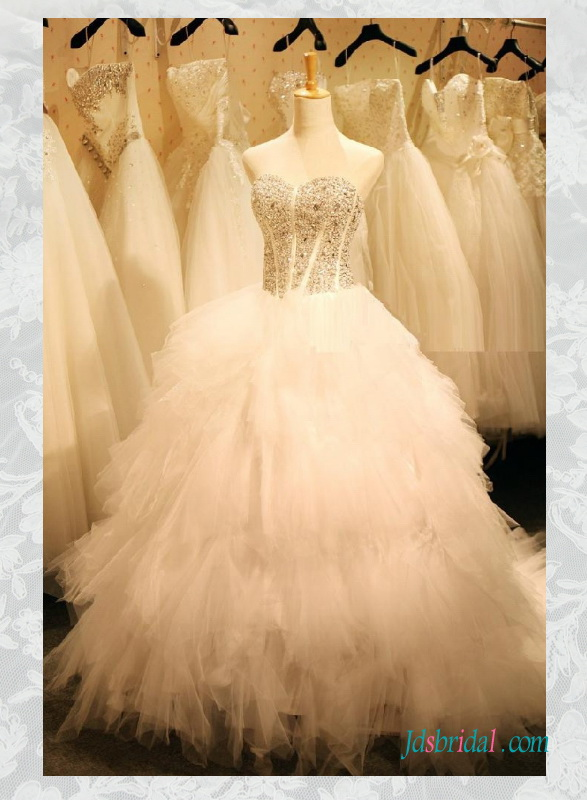 H1568 sparkly sweetheart princess ruffled tulle wedding dress