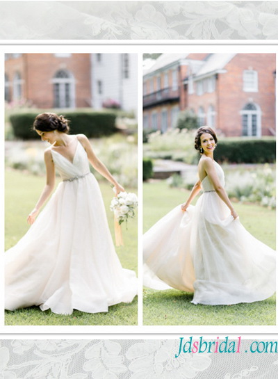 Low Back Flowy Wedding Dress : Flowy chiffon wedding dress with low back affordable gowns g