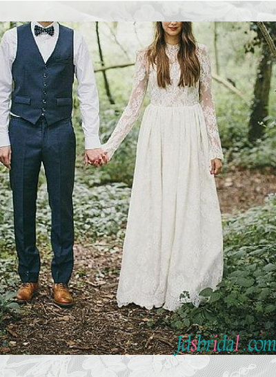 sexy open back lace woodland boho wedding dress with long sleeves
