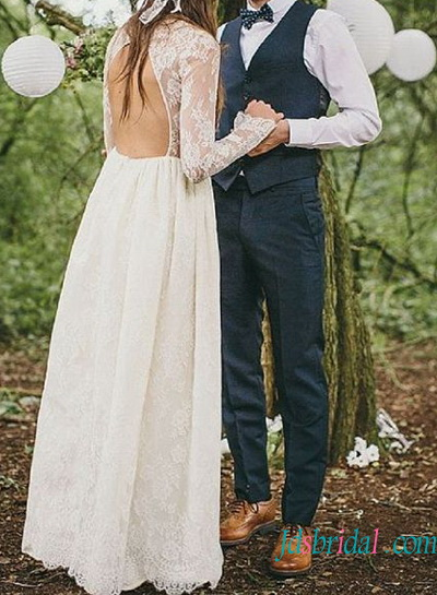 sexy open back lace vintage boho wedding dress with long sleeves