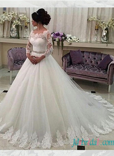H1578 Classy long sleeved tulle ball gown wedding dress with belt