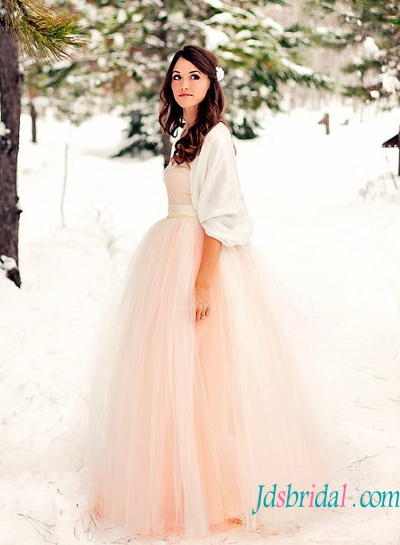 H1581 Lovely Simple Blush Pink Color Tulle Strapless Wedding Dress