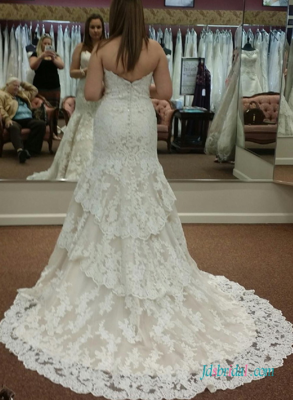 H1582 Designer inspired Sweetheart neck lace mermaid wedding dress