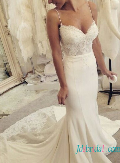 H1583 elegant tight mermaid wedding dress with spaghetti for Tight fitted mermaid wedding dresses