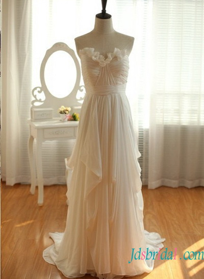 H1584 Affordable strapless chiffon beach wedding dress