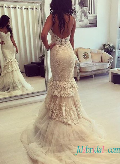 H1585 Sexy curvy lace mermaid wedding dress with low back
