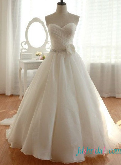 H1586 Simple sweetheart organza ball gown wedding dress for sale [H1586]