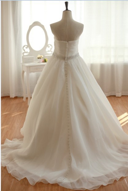 H1586 Simple sweetheart organza ball gown wedding dress for sale