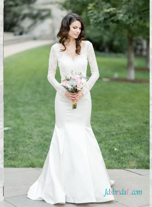 H1588 Elegant illusion lace long sleeved mermaid wedding dress :