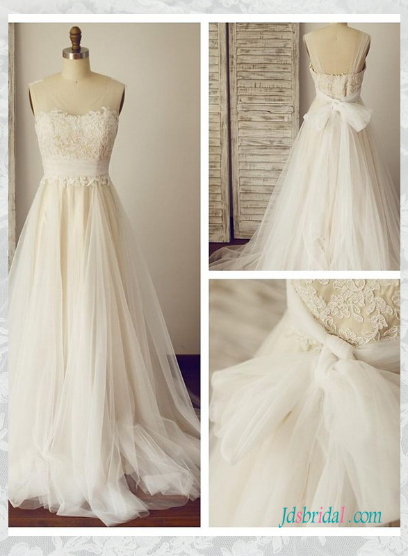 H1589 Sheer tulle strappy lace top boho wedding dresses