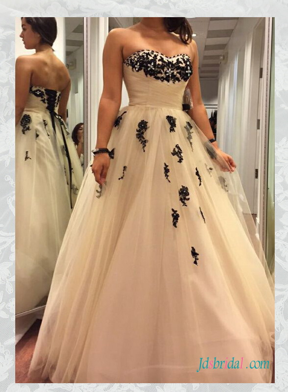H1592 Cheap black and ivory colored tulle wedding dresses online