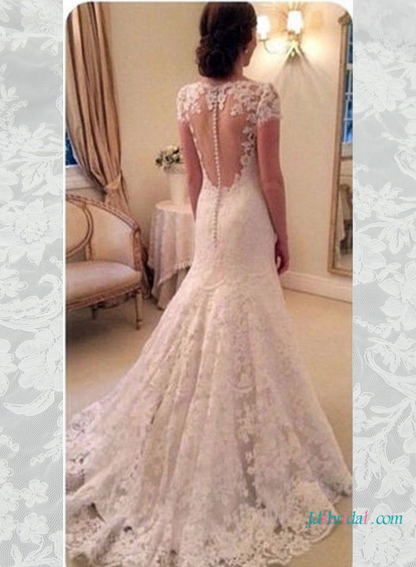 H1596 Elegant lace sheer open back wedding dress with cap sleeves