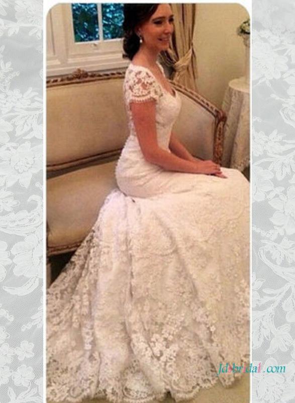 H1596 elegant lace sheer open back wedding dress with cap sleeves h1596 elegant lace sheer open back wedding dress with cap sleeves junglespirit Images