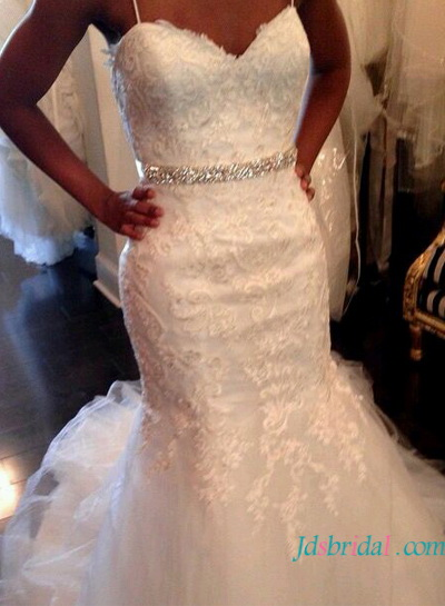 H1599 casual lace mermaid wedding dress with tulle skirt
