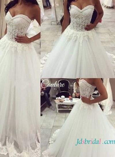 H1602 fantasy princess tulle wedding dress with sweetheart neck