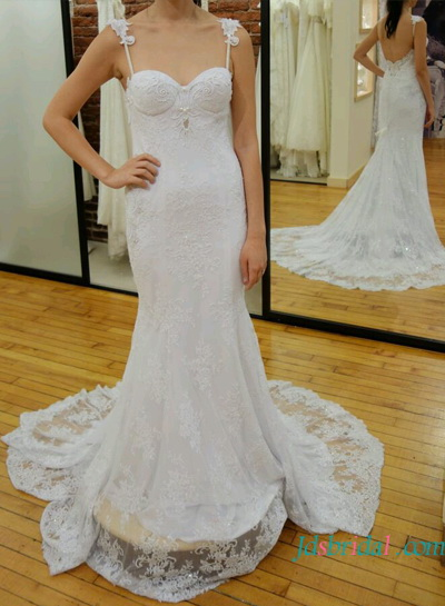H1606 Fitted lace sheath wedding dress with straps low back