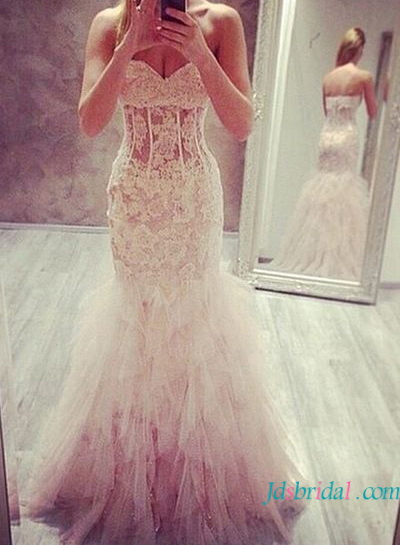2016 sexy semi see through lace mermaid wedding dress for short petite women