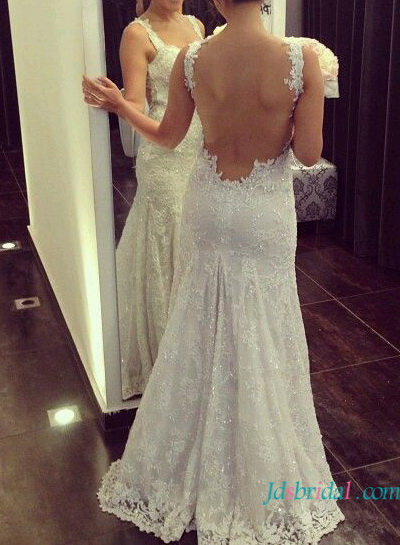 H1611 Sexy backless lace trumpet wedding dress with straps