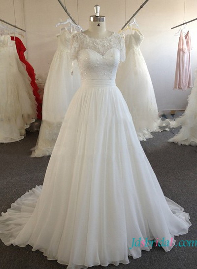 H1612 Inexpensive Modest white chiffon wedding dress with sleeves
