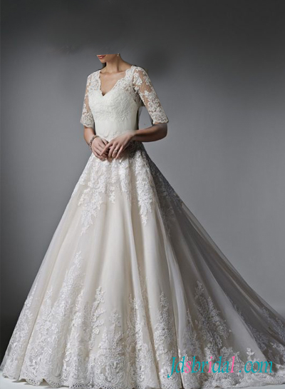 H1614 Classy princess lace wedding dress with half length sleeves [H1614]