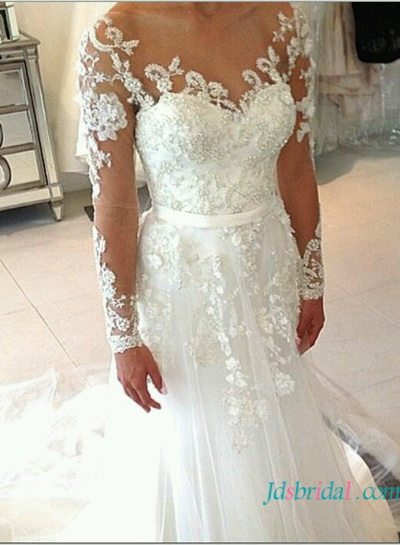 H1617 beaded sheer top mermaid wedding dress with long sleeves