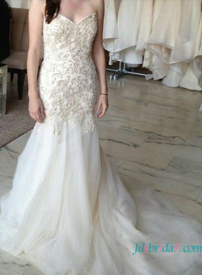 H1622 stunning gold beading embroidery memraid wedding dress