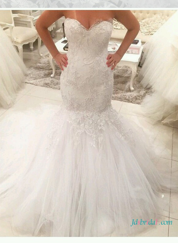 H1625 Tulle mermaid wedding dress with sweetheart neckline