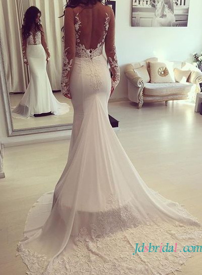 H1629 Sexy sheer back illusion lace mermaid wedding dress with sleeves