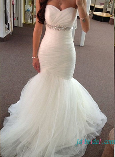 H1632 Gergous jeweled empire tulle mermaid wedding dress