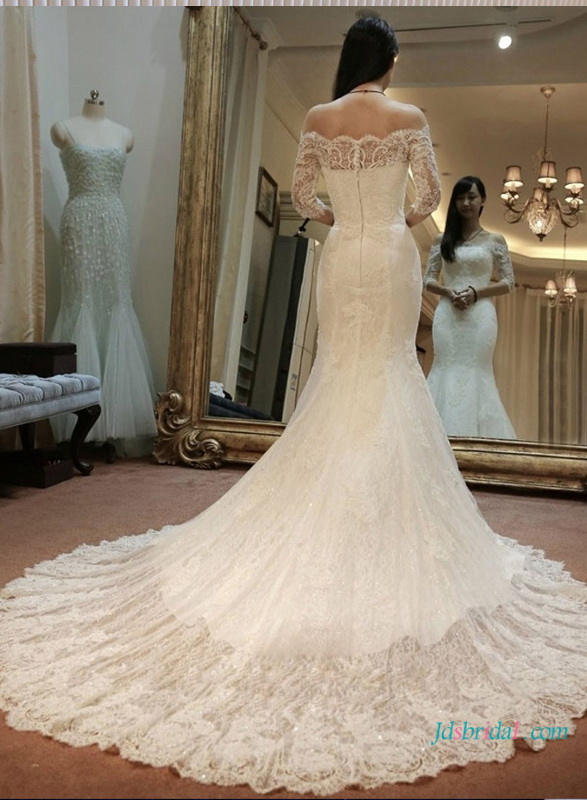 H1633 modest lace scalope half sleeves mermaid wedding dress for Lace modest wedding dresses