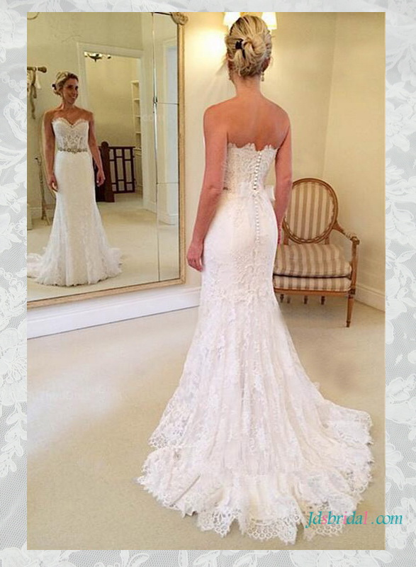 2016 lace sheath wedding dress with sweetheart neckline