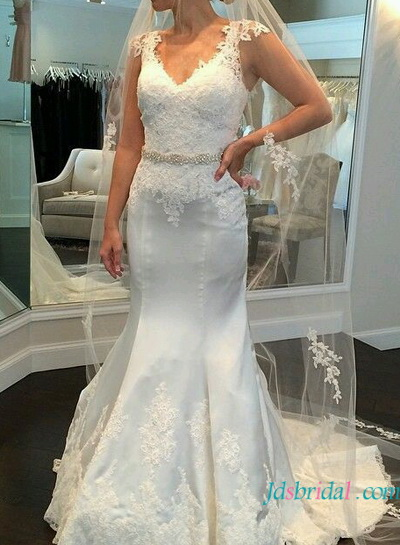H1638 stunning lace mermaid wedding dress with cap sleeves