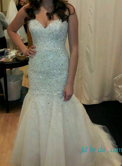 H1639 Sparkly mermaid wedding dress with sweetheart neckline :