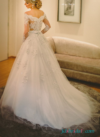 H1644 Delicate beading bateau neck wedding dresses with long sleeves
