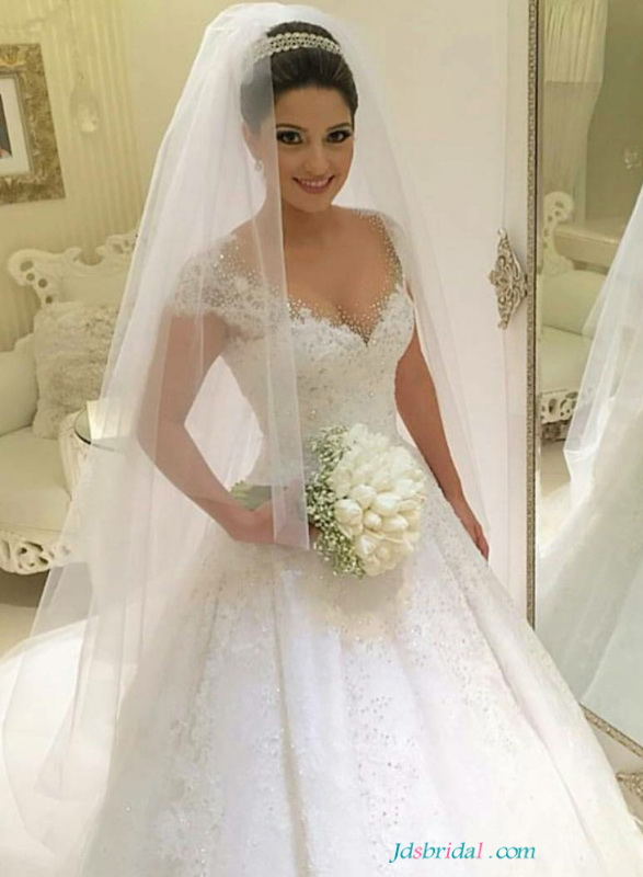 Beautiful Sparkle Hot Drilling Sweetheart Neckline Princess Wedding Dresses With Cap Sleeves