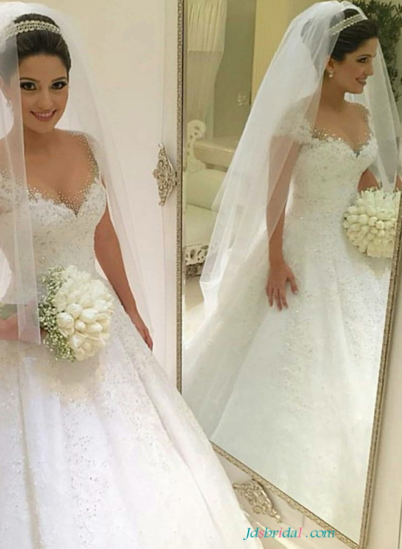 H1646 feminine sweetheart princess wedding dresses ball for Sparkly wedding dresses with sleeves