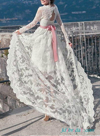 H1649 Romantic beach lace high low wedding dresses with sleeves