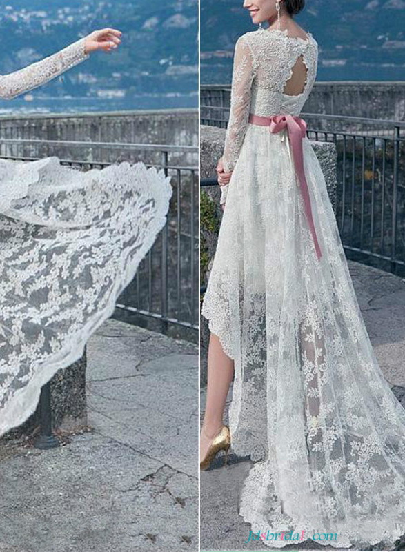 H1649 Romantic beach lace high low wedding dresses with sleeves :