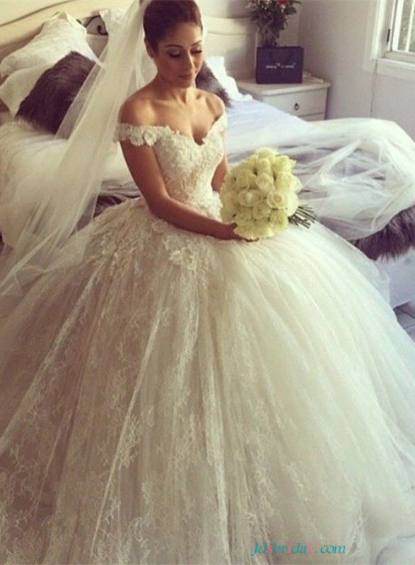 H1650 Pretty off the shoulder lace wedding dresses ballgown [H1650]