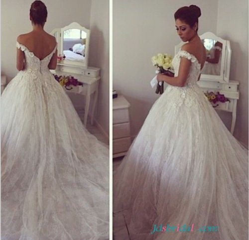 H1650 Pretty off the shoulder lace wedding dresses ballgown