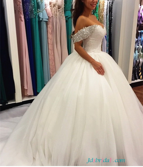 H1651 fairytale sparkly off shoulder princess wedding for Fairytale ball gown wedding dresses